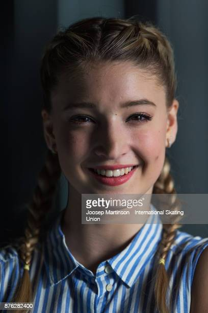 Maria Sotskova of Russia poses for a portrait during day three of the ISU Grand Prix of Figure Skating at Polesud Ice Skating Rink on November 19...