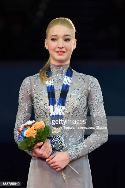 Maria Sotskova of Russia poses on the podium after the ladies free skating during the ISU Junior Senior Grand Prix of Figure Skating Final at Nippon...