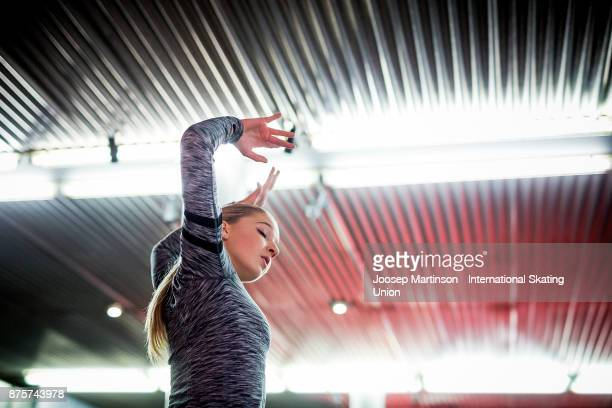 Maria Sotskova of Russia warms up prior to the Ladies Free Skating during day two of the ISU Grand Prix of Figure Skating at Polesud Ice Skating Rink...