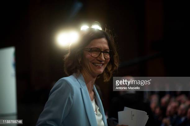 Maria Stella Gelmini attends a meeting of centre-right political party Forza Italia on March 30, 2019 in Rome, Italy. The meeting was organized to...