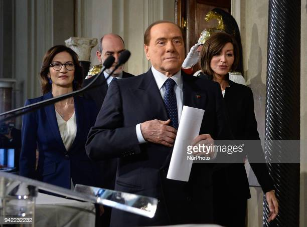 Maria Stella Gelmini Silvio Berlusconi and Anna Maria Bernini at the end of the Consultations of the President of the Republic for the formation of...