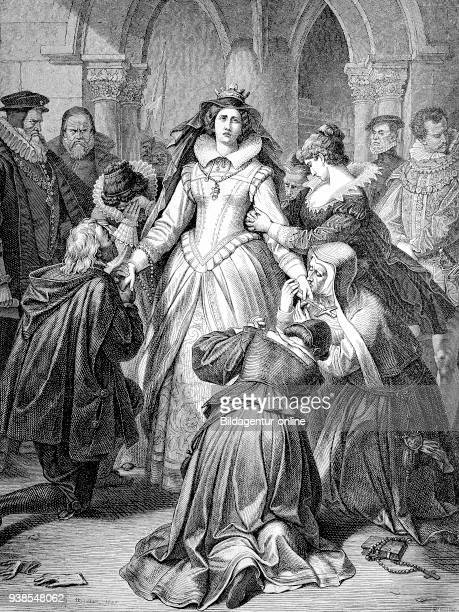Maria Stuart, saying goodbye to their followers on the way to the execution. Maria Stuart, 1542-1587, born as Mary Stewart, was Queen of Scots by the...