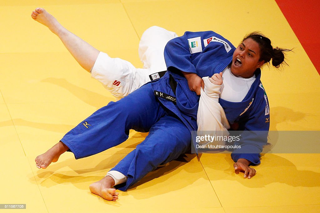 Maria Suelen Altheman of Brazil celebrates victory over Song Yu of China after they compete during the Dusseldorf Judo Grand Prix in their Womens +78kg Gold medal match held at Mitsubishi Electric Halle on February 21, 2016 in Dusseldorf, Germany.
