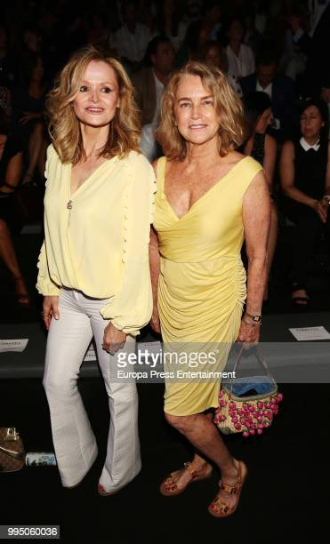 Maria Suelves and Veva Longoria attend the Roberto Torretta fashion show at Mercedes Benz Fashion Week Madrid Spring/ Summer 2019 on July 9 2018 in...