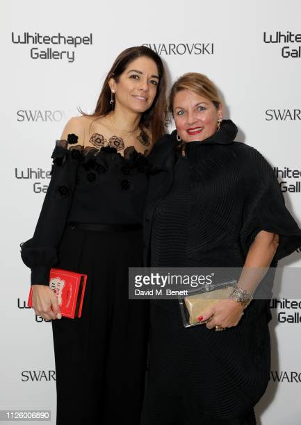 Maria Sukkar and Catherine Petitgas attend a glamorous gala dinner at Whitechapel Gallery as Rachel Whiteread is celebrated as the recipient of the...