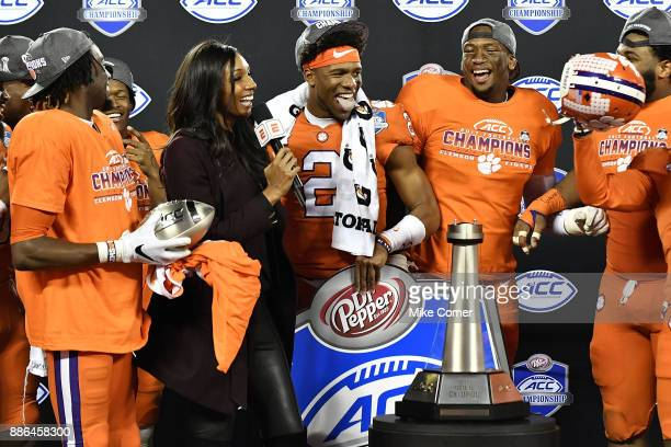Maria Taylor of ESPN interviews Kelly Bryant of the Clemson Tigers following his acceptance of the ACC Football Championship MVP award at Bank of...