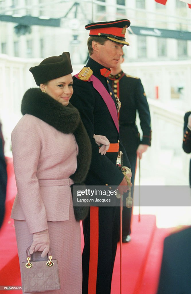 Maria Teresa and Henri of Luxembourg leaving the St Michel Cathedral.