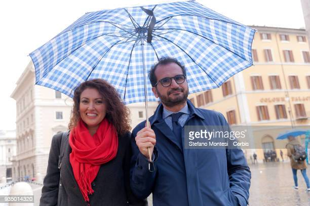 Maria Teresa Bellucci and Marcello Gemmato deputies of Fratelli d'Italia in front Parlament on March 20 2018 in Rome Italy The new members of the...