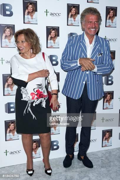 Maria Teresa Campos and Edmundo Arrocet 'Bigote Arrocet' attend the presentation of the new book 'Frente Al Espejo' at Hotel Villamagna on July 12...