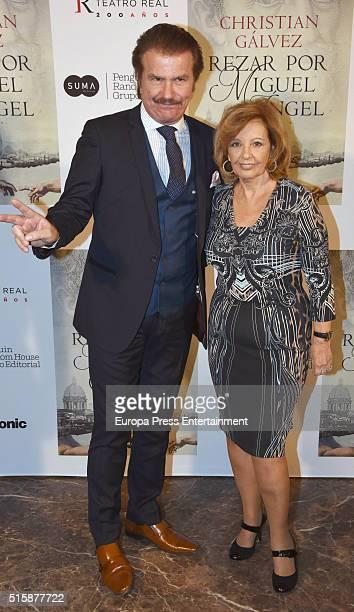 Maria Teresa Campos and Edmundo Arrocet 'Bigote' attend the presentation of the book 'Rezar Por Miguel Angel' written by Christian Galvez on March 14...