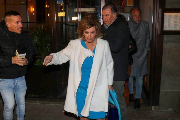 Maria Teresa Campos and Emilio Javier Gomez are seen on March 03 2020 in Madrid Spain