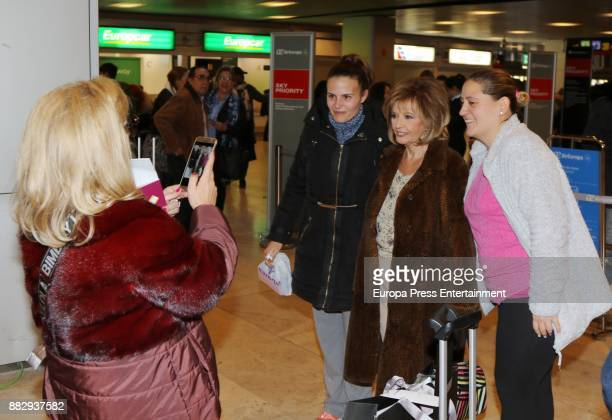 Maria Teresa Campos and her daughter Carmen Borrego are seen at the airport to travel to New York where they are going to film a new season of 'Las...