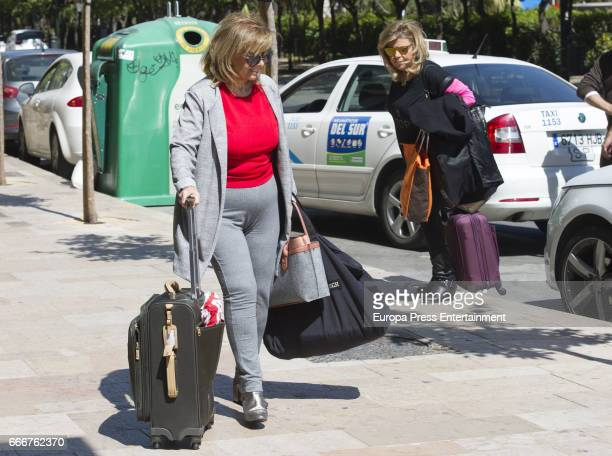 Maria Teresa Campos and her daughter Terelu Campos are seen on April 8 2017 in Malaga Spain