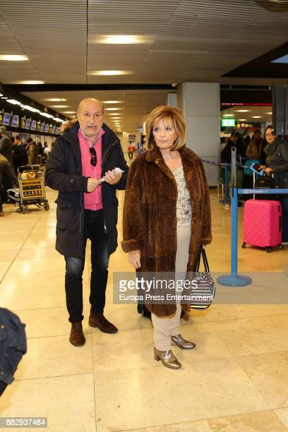 Maria Teresa Campos and her soninlaw Jose Carlos Bernal are seen at the airport to travel to New York where they are going to film a new season of...