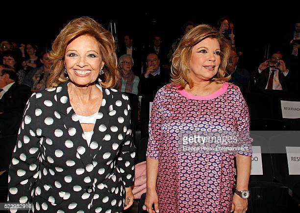 Maria Teresa Campos and Terelu Campos attend the presentation of the Rocio Jurado stamp in the 10th anniversary of her death at the Royal Theatre on...