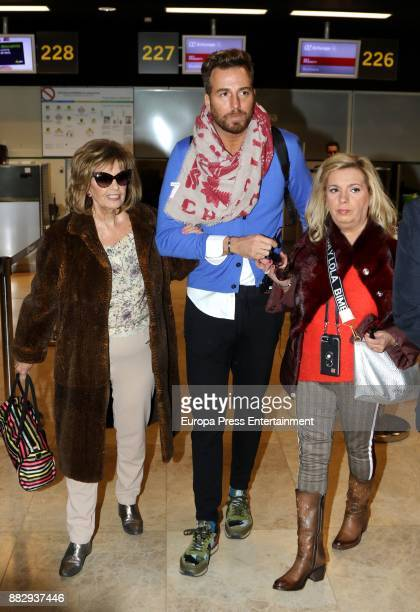 Maria Teresa Campos her daughter Carmen Borrego and director Raul Prieto are seen at the airport to travel to New York where they are going to film a...