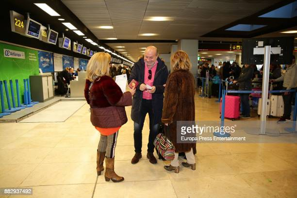 Maria Teresa Campos her daughter Carmen Borrego and her soninlaw Jose Carlos Bernal are seen at the airport to travel to New York where they are...