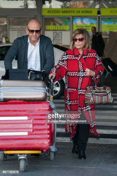 Maria Teresa Campos is seen at the airport coming back from New York and Miami where she was filming a new season of 'Las Campos' tv show o is seen...