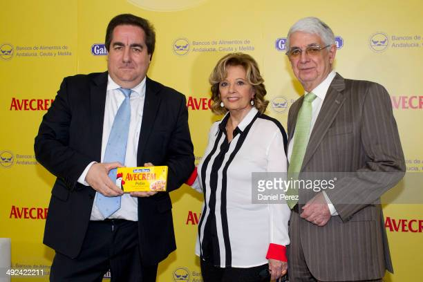 Maria Teresa Campos Javier Pena president of the Andalusian Federation of Food Banks and Fernando Fernandez Director General of Gallina Blanca Spain...