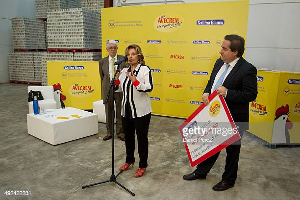 Maria Teresa Campos Javier Pena president of the Andalusian Federation of Food Banks and Fernando Fernandez Director General of Gallina Blanca Spain...