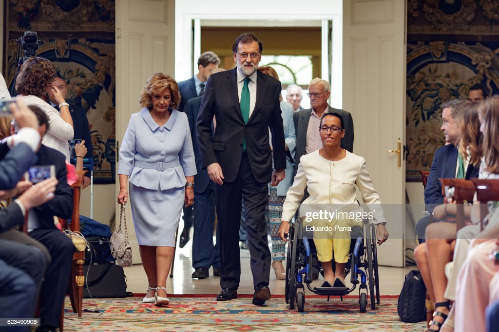 Maria Teresa Campos, President Mariano Rajoy and swimmer Teresa Perales attend the 'Medals to Merit in Work' delivery at Moncloa palace July 27, 2017 in Madrid, Spain.