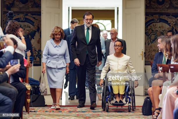 Maria Teresa Campos, President Mariano Rajoy and swimmer Teresa Perales attend the 'Medals to Merit in Work' delivery at Moncloa palace July 27, 2017...