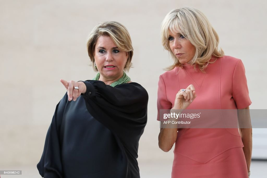 Maria Teresa (L), Grand Duchess of Luxembourg, and Brigitte Macron, wife of the French president, visit the MUDAM contemporary art museum in Luxembourg on August 29, 2017. French President Emmanuel Macron is on a visit to Luxembourg. /