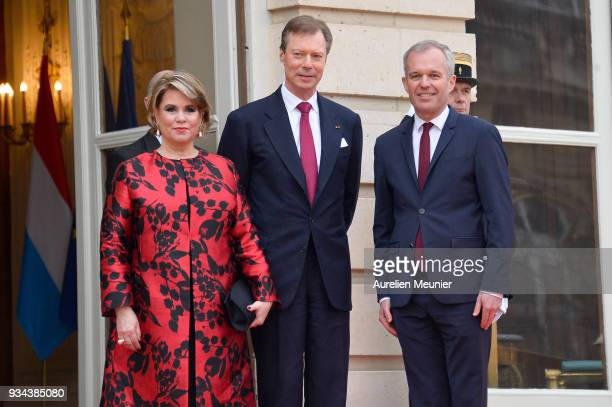 Maria Teresa Grand Duchess of Luxembourg and Henri Grand Duke of Luxembourg are welcomed by Francois de Rugy President of the French National...