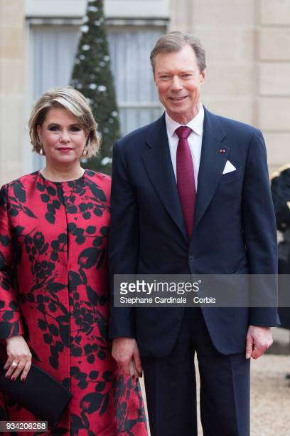 Maria Teresa Grand Duchess of Luxembourg and Henri Grand Duke of Luxembourg arrive at Elysee Palace on March 19 2018 in Paris France GrandDuke Henri...
