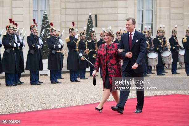 Maria Teresa, Grand Duchess of Luxembourg and Henri, Grand Duke of Luxembourg arrive at Elysee Palace on March 19, 2018 in Paris, France. Grand-Duke...