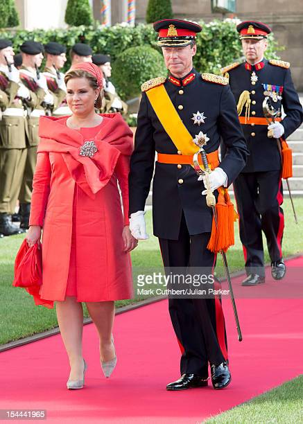 Maria Teresa Grand Duchess of Luxembourg and Henri Grand Duke of Luxembourg attend the wedding ceremony of Prince Guillaume Of Luxembourg and...