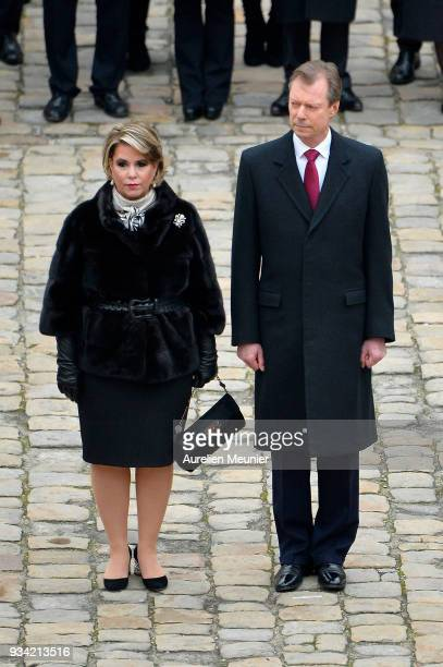 Maria Teresa, Grand Duchess of Luxembourg and Henri, Grand Duke of Luxembourg arrive to the Invalides on March 19, 2018 in Paris, France. Grand-Duke...