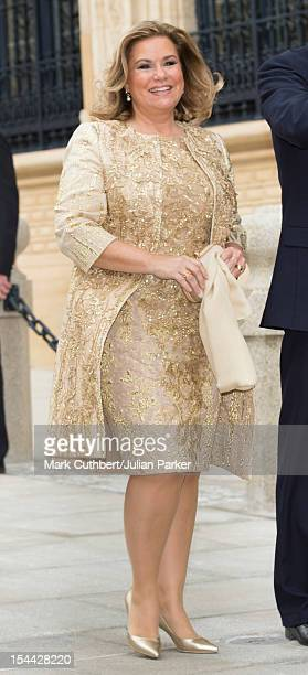 Maria Teresa Grand Duchess of Luxembourg arrives back at the Royal Palace after the civil wedding ceremony of Prince Guillaume Of Luxembourg and...