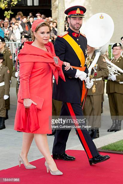 Maria Teresa Grand Duchess of Luxembourg arriving with Prince Guillaume Of Luxembourg for his wedding ceremony to Stephanie de Lannoy at the...