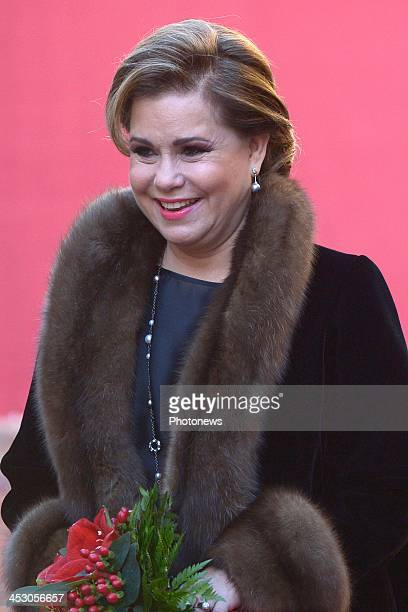 Maria Teresa Grand Duchess of Luxembourg attends a welcome ceremony for King Philippe and Queen Mathilde of Belgium at Grand Ducal Palace on December...