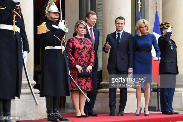 Maria Teresa, Grand Duchess of Luxembourg, Henri, Grand Duke of Luxembourg, French President Emmanuel Macron and Brigitte Macron pose in the...