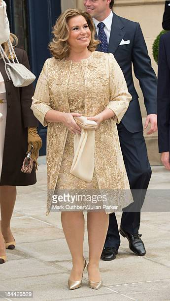 Maria Teresa Grand Duchess of Luxembourg leaves the Royal Palace for the civil ceremony of Prince Guillaume Of Luxembourg and Stephanie de Lannoy at...