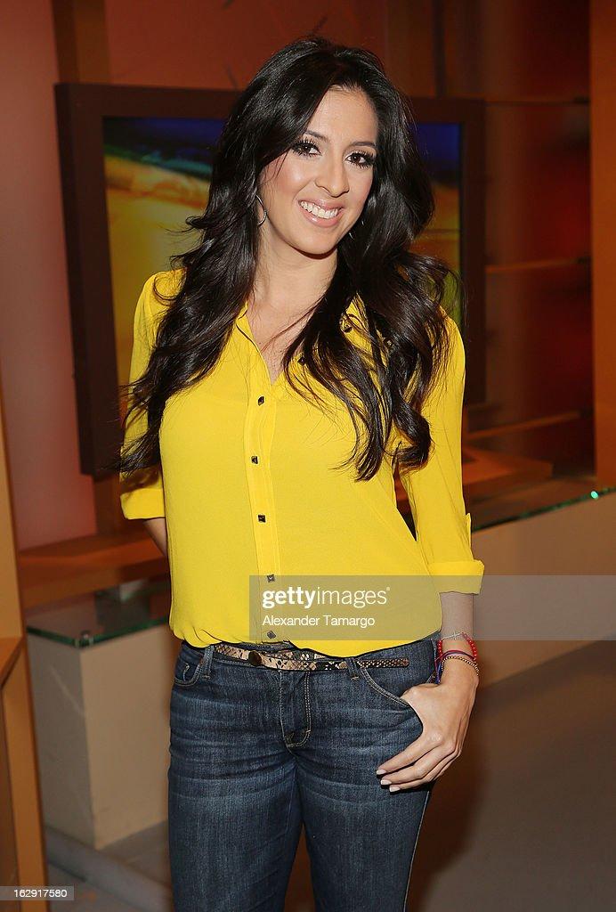 Maria Teresa Interiano celebrates Univision's Tlnovelas cable network first anniversary on Despierta America at Univision Headquarters on March 1, 2013 in Miami, Florida.