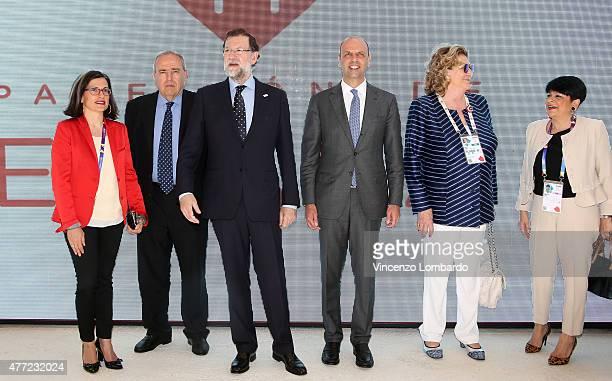 Maria Teresa Lizaranzu guest Perinat Spanish Prime Minister Mariano Rajoy Minister Angelino Alfano Diana Bracco and gues visit Spain pavilion at Expo...
