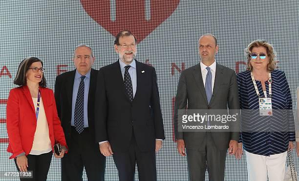 Maria Teresa Lizaranzu Perinat guest Spanish Prime Minister Mariano Rajoy Minister Angelino Alfano and Diana Bracco visit Spain pavilion at Expo 2015...