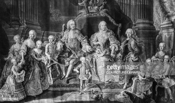 Maria Theresa and Francis I Holy Roman Emperor with their thirteen children engraving Austria 18th century