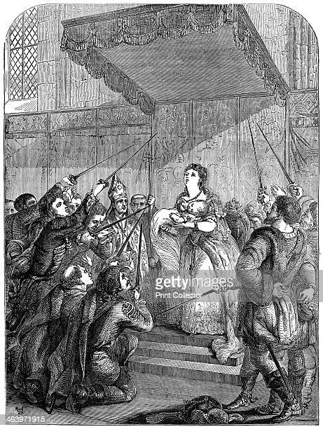 Maria Theresa of Austria appealing to the Magyar Diet, 18th century . From Cassell's Illustrated History of England, volume IV, published by Cassell,...