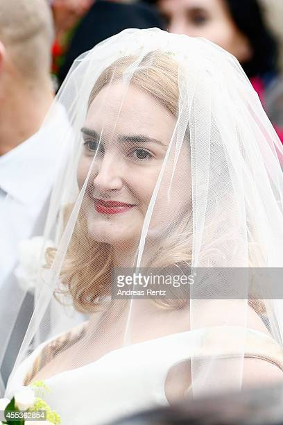 Maria Theresia von Thurn und Taxis arrives for her Wedding Ceremony with Hugo Wilson on September 13 2014 in Tutzing Germany