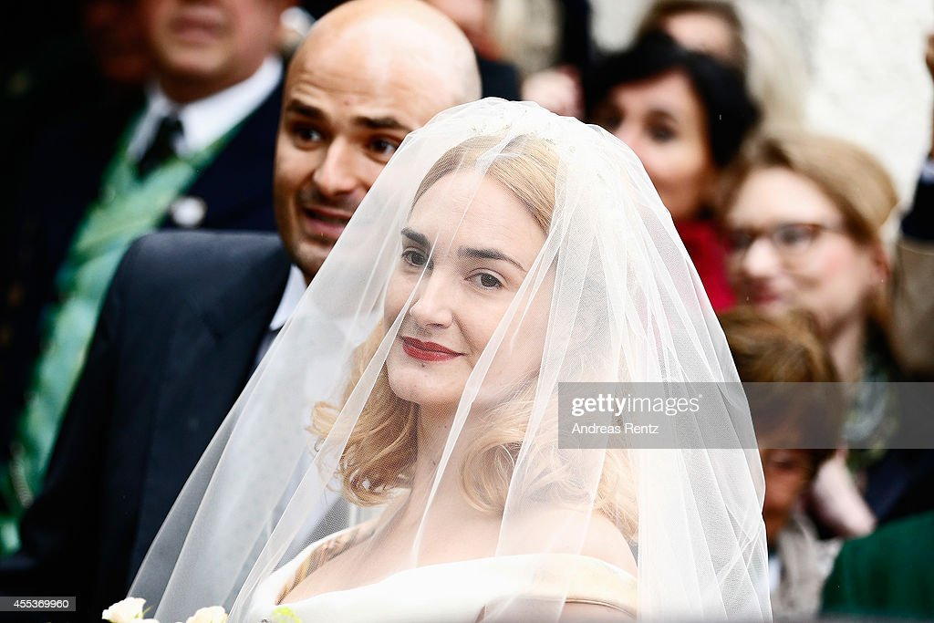 Maria Theresia von Thurn und Taxis arrives for her Wedding Ceremony with Hugo Wilson on September 13, 2014 in Tutzing, Germany.