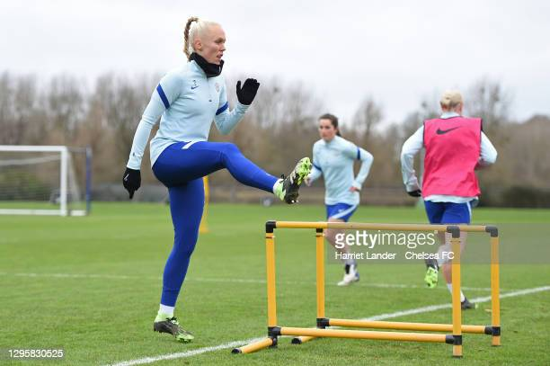 Maria Thorisdottir of Chelsea in action during a Chelsea FC Women's Training Session at Chelsea Training Ground on January 11, 2021 in Cobham,...