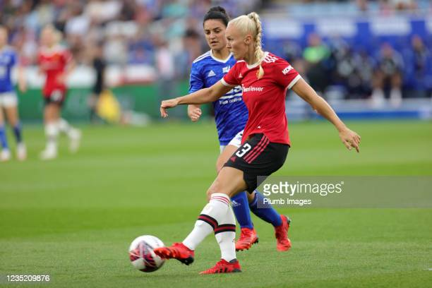 Maria Thorisdottir of Manchester United Women in action with Jess Sigsworth of Leicester City Women during the Barclays FA Women's Super League match...
