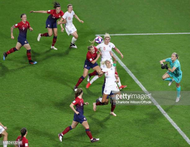 Maria Thorisdottir of Norway fouls Steph Houghton of England in box to give away a penalty during the 2019 FIFA Women's World Cup France Quarter...