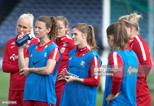 Maria Thorisdottir Synne Skinnes Hansen Maren Mjelde of Norway during training session before FIFA 2018 World Cup Qualifier between Norway v Slovakia...