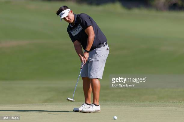 Maria Torres of Puerto Rico hits her putt on during the LPGA Volunteers of America Texas Classic on May 5 2018 at the Old American Golf Club in The...