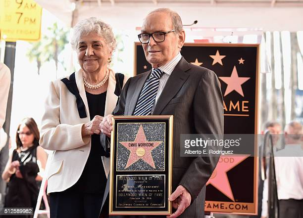 Maria Travia and composer Ennio Morricone attend a ceremony honoring Ennio Morricone with the 2575th Star on The Hollywood Walk of Fame on February...